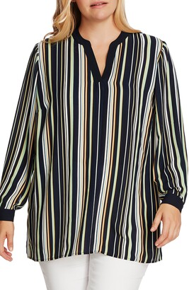 Vince Camuto Waterlake Stripe Split Neck Top