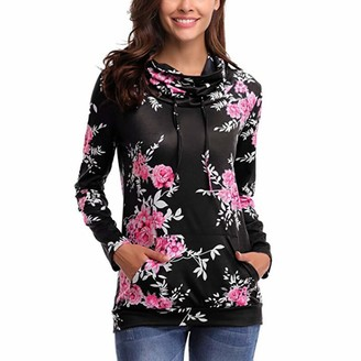 Toamen Women's Tops Clearance Womens Sweatshirt Hoodie Toamen Long Sleeve Bow Floral Printing Hooded Blouse Tops T Shirt Outwear(Black 14)