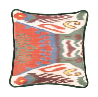 The World In Cushions Hijau Silk & Velvet Vintage Ikat Cushion Green