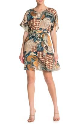 MSK Paisley Print Tie Front Dress
