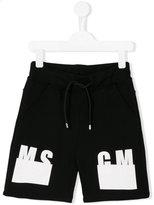 MSGM logo print shorts - kids - Cotton - 10 yrs