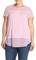 Vince Camuto Chiffon Inset Tee (Plus Size)