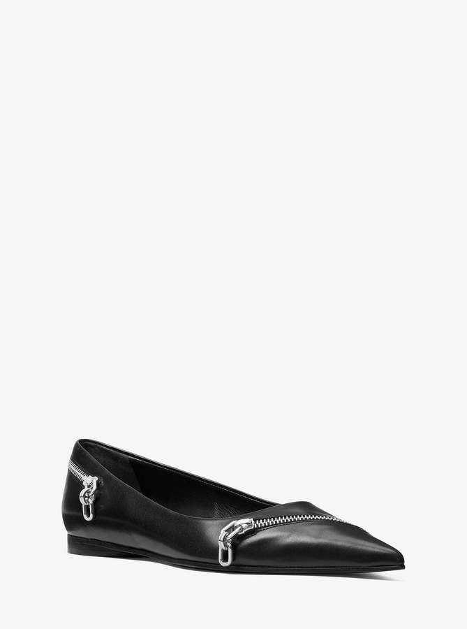 Michael Kors Holland Zipper Leather Flat