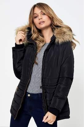boohoo Womens Fur Hood Padded Coat - Black