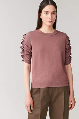 Cos Ruched-Sleeved Organic Cotton Top