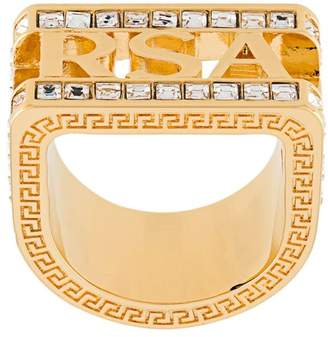 Versace Crystal Logo Ring