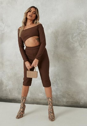 Missguided Premium Chocolate Bandage Bardot Cut Out Romper