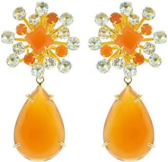 Bounkit Carnelian Pear Drop Earring Set