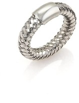 Roberto Coin 18K White Gold Diamonds Basket Woven Band Ring Size 6.25