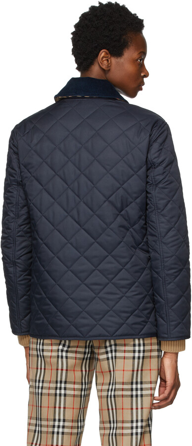 Thumbnail for your product : Burberry Navy Quilted Corduroy Collar Jacket