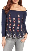 Lucky Brand Women's Embroidered Off The Shoulder Top