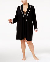 Thalia Sodi Plus Size Satin-Trimmed Knit Wrap Robe, Only at Macy's