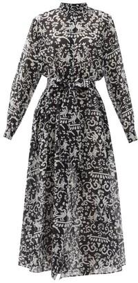 Saloni Inez Phoenix-print Cotton-blend Shirt Dress - Black White
