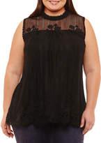 Boutique + + Short Sleeve High Neck Knit Blouse-Plus