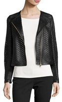 Escada Perforated Leather Moto Jacket, Black
