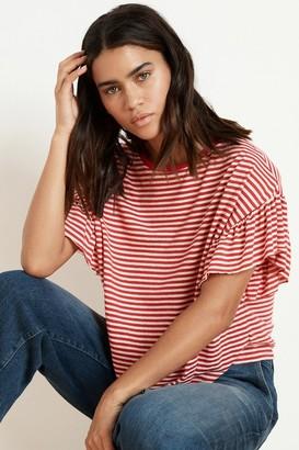 Velvet by Graham & Spencer Adaline Stripe Linen Knit Ruffle Sleeve Tee