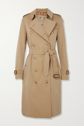 Burberry The Kensington Long Cotton-gabardine Trench Coat - Beige