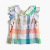 J.Crew Girls' ruffle-back top in oversized rainbow gingham