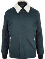 River Island Mens Dark turquoise borg coach jacket