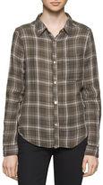 Calvin Klein Crinkled Long Sleeve Cotton Shirt