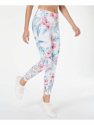 Ideology Womens White Floral Skinny Active Wear Leggings Size: S