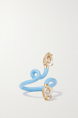 BEA BONGIASCA Vine Tendril 9-karat Gold, Enamel And Rock Crystal Ring - Blue