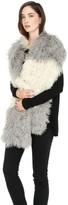 Soia & Kyo ISABETTA Two-tone oversized Mongolian fur scarf in Ash
