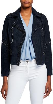Kobi Halperin Veronia Embellished Suede Moto Jacket