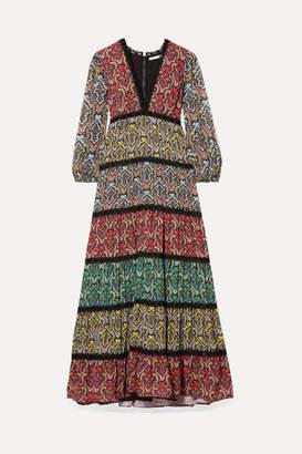 Alice + Olivia Karolina Crochet-trimmed Printed Crepe And Plisse-chiffon Maxi Dress - Black