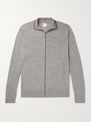 Paul Smith Slim-Fit Stripe-Trimmed Melange Merino Wool Zip-Up Cardigan