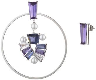 Carolee Mismatched Rhinestone Imitation Pearl Hoop & Stud Earrings