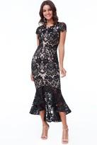 Goddiva Black Lace High Low Maxi Dress