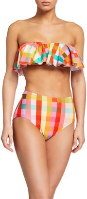 Kate Spade Plaid Ruffle Bandeau Bikini Top
