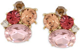 Betsey Johnson Gold-Tone Pink Crystal Cluster Stud Earrings