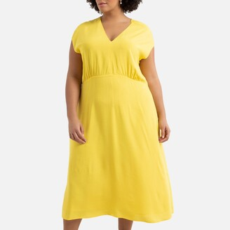 Plain Sleeveless Midi Dress with V-Neck