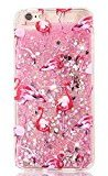 Sunvy iPhone 7plus Glitter Case,i7P Liquid Case Flame Birds Printed Moving Bling Floating Cover for iPhone 7 Plus with a Screen Protector (Pink)