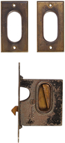 Rejuvenation Simple Brass Pocket Door Set w/ Mortise Lock