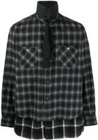 Sacai layered checked print shirt