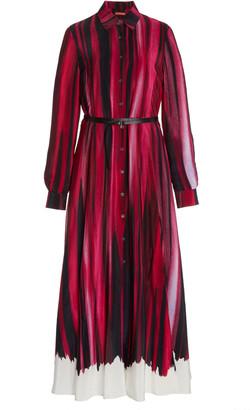 Altuzarra Judina Striped Silk Midi Shirt Dress