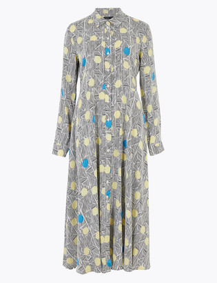 Marks and Spencer Printed Midi Shirt Dress