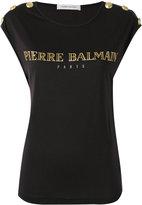 Pierre Balmain logo print T-shirt - women - Lyocell - 38