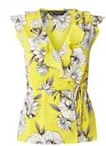 Dorothy Perkins Yellow Floral Ruffle Wrap Top