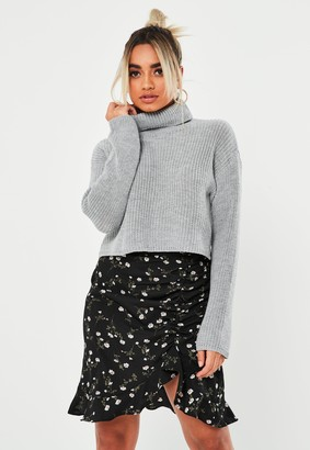 Missguided Petite Grey Roll Neck Cropped Knitted Jumper