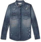 Saint Laurent - Slim-Fit Distressed Denim Western Shirt