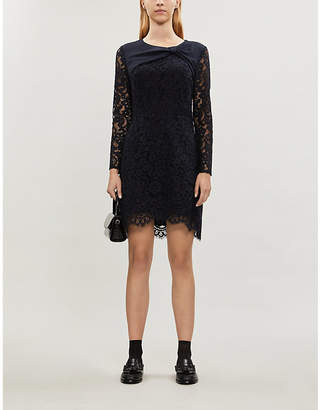 Claudie Pierlot Ruben lace-overlay cotton-blend mini dress