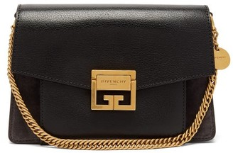 Givenchy Gv3 Small Suede And Leather Cross-body Bag - Black Grey