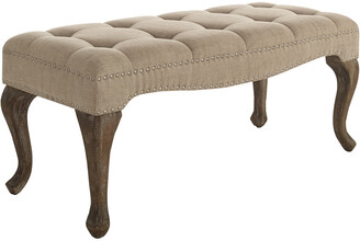 Linon Loire Cabriolet Washed Natural Linen Bench