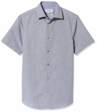 Azaro Uomo Men's Button Down Collar Short Sleeve Dress Shirt Color Slim