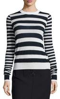 Joseph Striped Cashmere Long-Sleeve Top