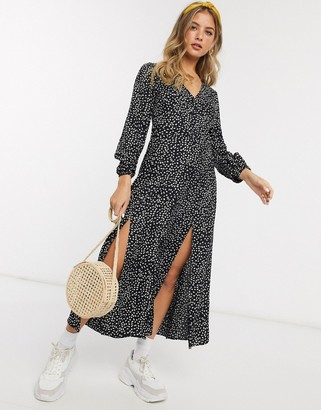 Miss Selfridge maxi tea dress in black print
